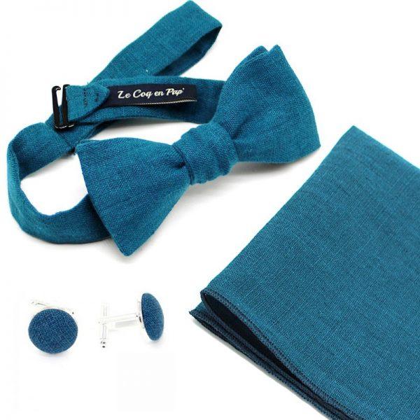 Le Coq en Pap' - Coffret noeud papillon bleu canard uni en lin