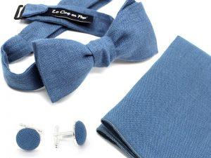 Le Coq en Pap' - Coffret noeud papillon bleu stone uni en lin
