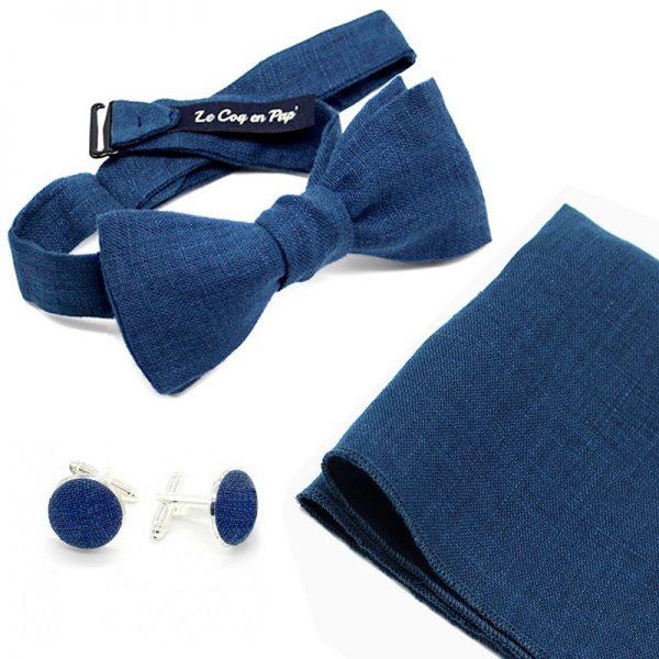 Le Coq en Pap' - Coffret noeud papillon bleu marine uni en lin