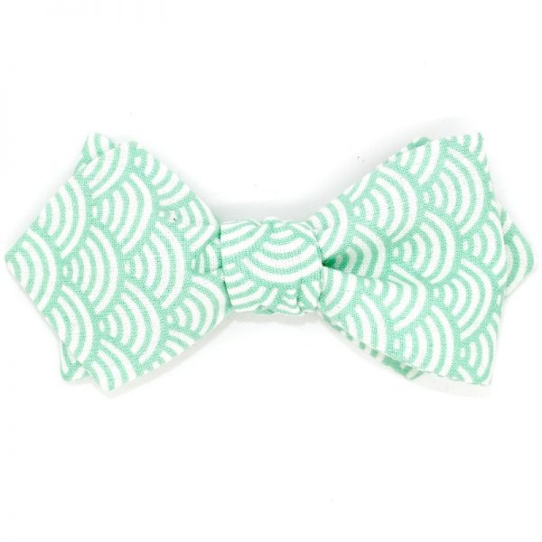 Le Coq en Pap' - Noeud papillon vert d'eau japonais seigaiha