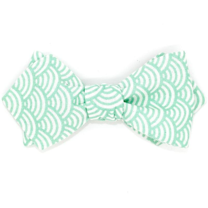 f535baee3aef5 Nœud Papillon Seigaiha Vert d'Eau - Le Coq en Pap'