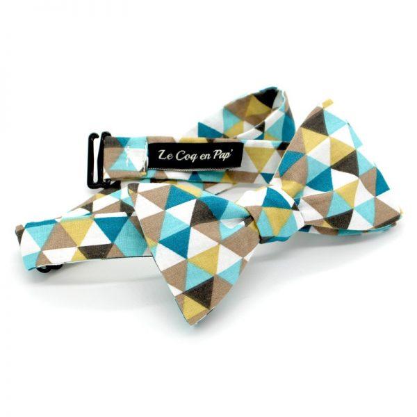 Le Coq en Pap' - Noeud papillon jaune moutarde bleu et beige trimix