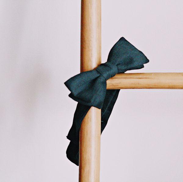 Le Coq en Pap' - Noeud papillon noir carbone uni en lin