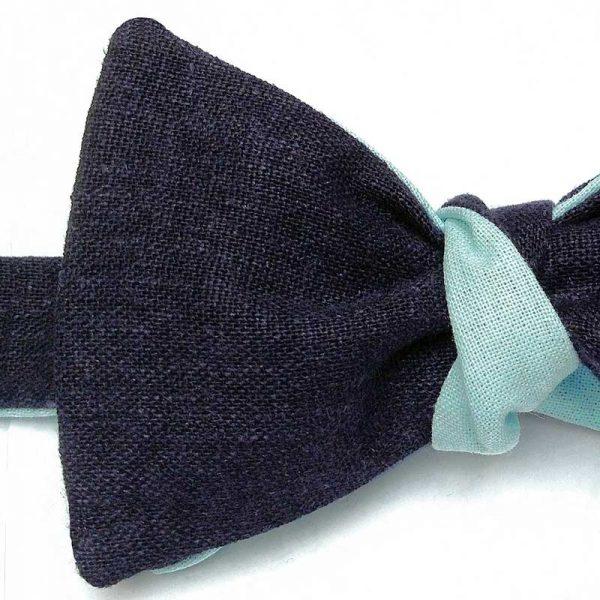 Le Coq en Pap' - Noeud papillon bleu nuit vert d'eau lin twist