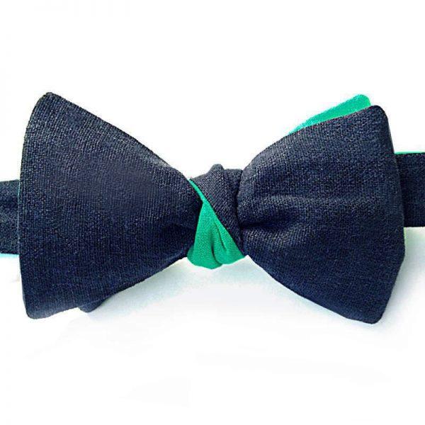 Le Coq en Pap' - Noeud papillon bleu nuit vert lin twist