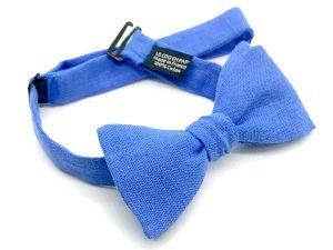 Le Coq en Pap' - Noeud papillon bleu bleuet uni en lin