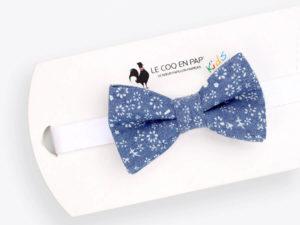 Le Coq en Pap' - Noeud papillon enfant bleu turquin chambray fleuri