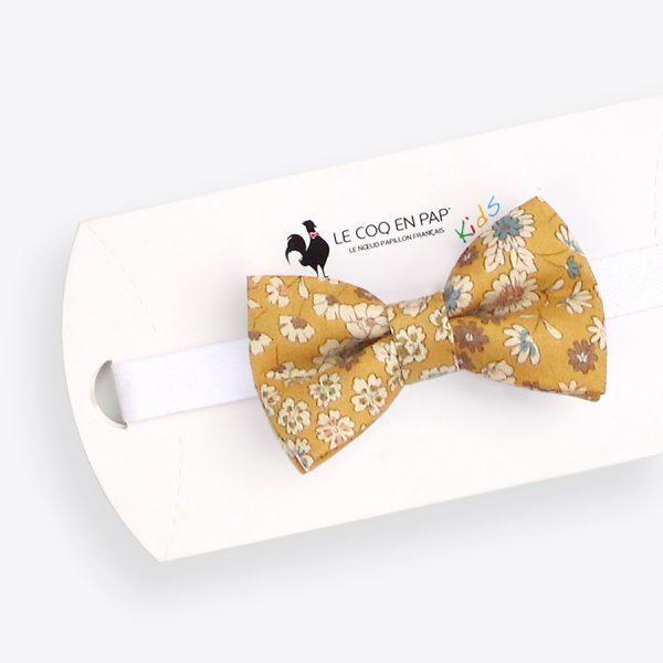 Le Coq en Pap' - Noeud papillon enfant jaune moutarde fleuri Frou-Frou
