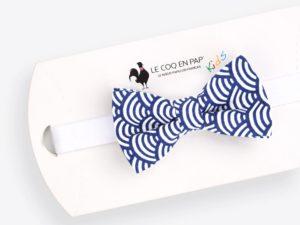 Le Coq en Pap' - Noeud papillon enfant bleu roi japonais seigaiha