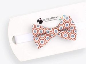 Le Coq en Pap' - Noeud papillon enfant corail gris et blanc japonais kobe