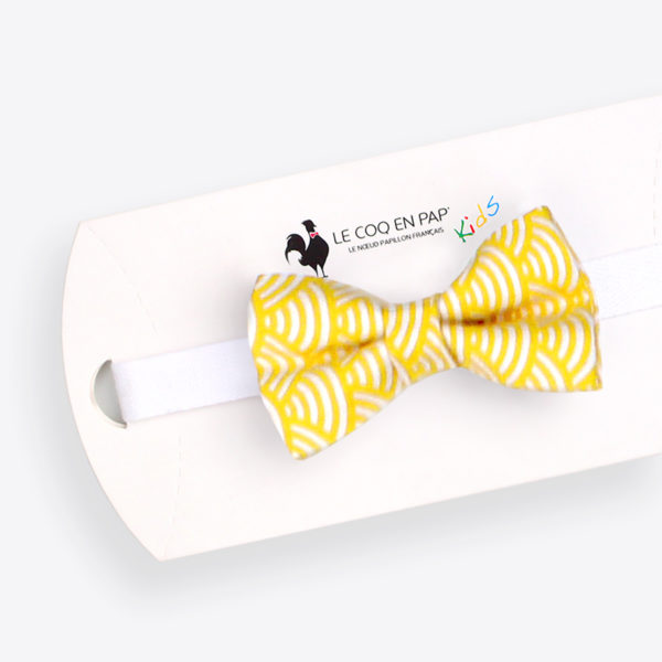 Le Coq en Pap' - Noeud papillon enfant jaune citron japonais seigaiha