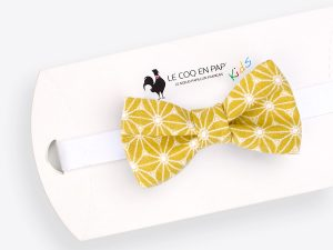 Le Coq en Pap' - Noeud papillon enfant jaune moutarde japonais fuji