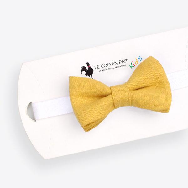 Le Coq en Pap' - Noeud papillon enfant jaune moutarde uni en lin