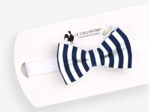 Le Coq en Pap' - Noeud papillon enfant marine et blanc rayé marin