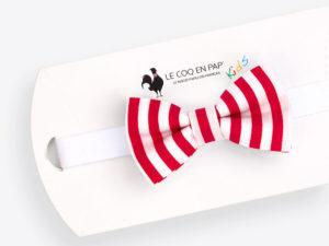 Le Coq en Pap' - Noeud papillon enfant rouge et blanc rayé marin