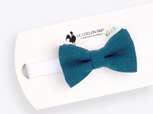 Le Coq en Pap' - Noeud papillon enfant bleu canard uni en lin