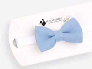 Le Coq en Pap' - Noeud papillon enfant bleu ciel uni en lin
