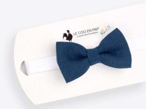 Le Coq en Pap' - Noeud papillon enfant bleu marine uni en lin