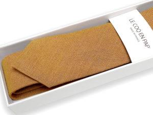 Le Coq en Pap' - Cravate beige caramel unie en lin
