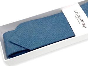 Le Coq en Pap' - Cravate bleu stone unie en lin
