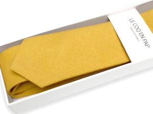Le Coq en Pap' - Cravate jaune moutarde unie en lin