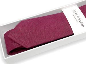 Le Coq en Pap' - Cravate rouge aubergine unie en lin