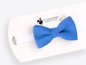 Le Coq en Pap' - Noeud papillon enfant bleu bleuet uni en lin