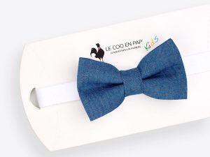 Le Coq en Pap' - Noeud papillon enfant bleu denim jean brut foncé