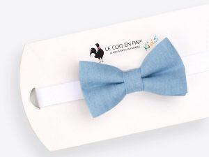Le Coq en Pap' - Noeud papillon enfant bleu denim jean clair