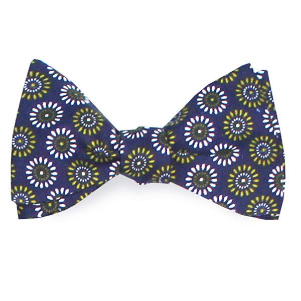 Le Coq en Pap' - Noeud papillon fleuri bleu marine kaleido