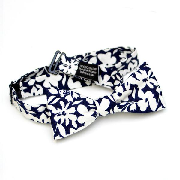 Le Coq en Pap' - Noeud papillon fleuri bleu nuit lys