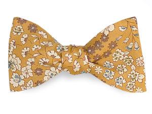 Le Coq en Pap' - Noeud papillon jaune moutarde fleuri frou-frou