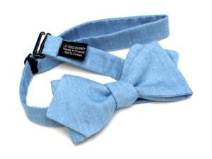 Le Coq en Pap' - Noeud papillon bleu denim jean brut clair