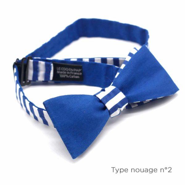 Le Coq en Pap' - Noeud papillon bleu et blanc rayé marin