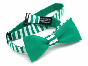 Le Coq en Pap' - Noeud papillon vert et blanc rayé marin