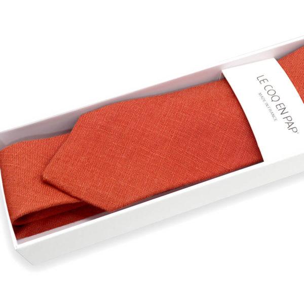 Le Coq en Pap' - Cravate rouge rouille unie en lin