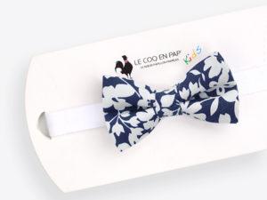 Le Coq en Pap' - Noeud papillon enfant fleuri bleu nuit lys