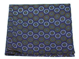 Le Coq en Pap' - Pochette de costume fleuri bleu marine kaleido