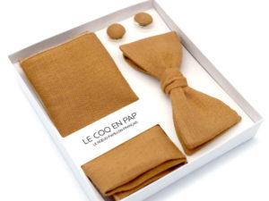 Le Coq en Pap' - Coffret noeud papillon beige caramel uni en lin