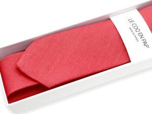 Le Coq en Pap' - Cravate rouge grenadine unie en lin