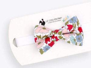 Le Coq en Pap' - Noeud papillon enfant fleuri liberty poppy daisy a