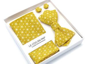 Le Coq en Pap' - Coffret noeud papillon jaune moutarde japonais fuji