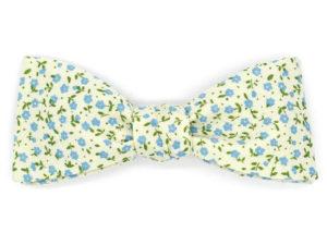 Le Coq en Pap' - Noeud papillon blanc cassé bleu fleuri shabby chic