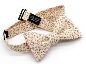 Le Coq en Pap' - Noeud papillon blanc cassé rose fleuri shabby chic