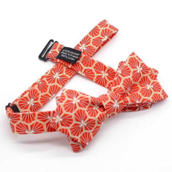 Le Coq en Pap' - Noeud papillon rouge corail japonais kikko