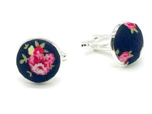 Le Coq en Pap' - Boutons de manchette fleuri bleu nuit et rose shabby chic