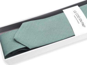 Le Coq en Pap' - Cravate vert céladon unie en lin