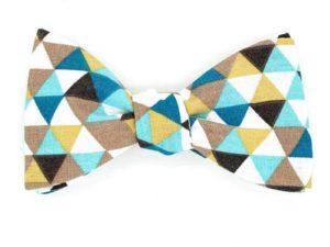 Le Coq en Pap' - Noeud papillon jaune moutarde, bleu et beige trimix