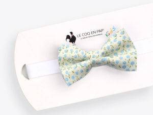 Le Coq en Pap' - Noeud papillon enfant fleuri blanc cassé bleu shabby chic