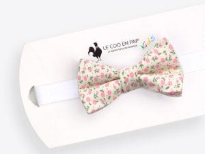 Le Coq en Pap' - Noeud papillon enfant blanc cassé rose fleuri shabby chic